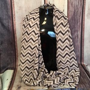 Infinity Black Gray White Chevron Pattern Scarf